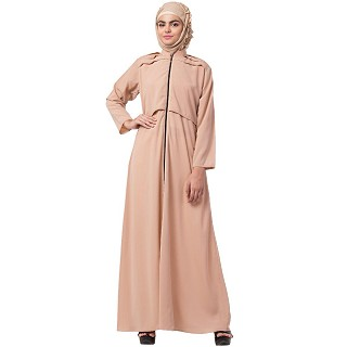 Designer zipper abaya- Orange